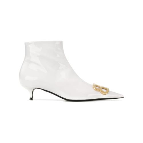 weiße Leder Stiefeletten von Balenciaga