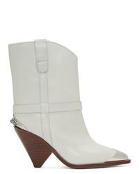 weiße Leder Stiefeletten von Isabel Marant