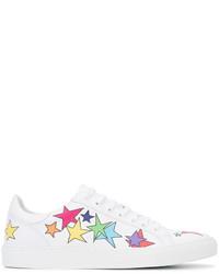 weiße Leder Turnschuhe mit Sternenmuster von Mira Mikati