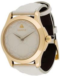 weiße Leder Uhr von Gucci