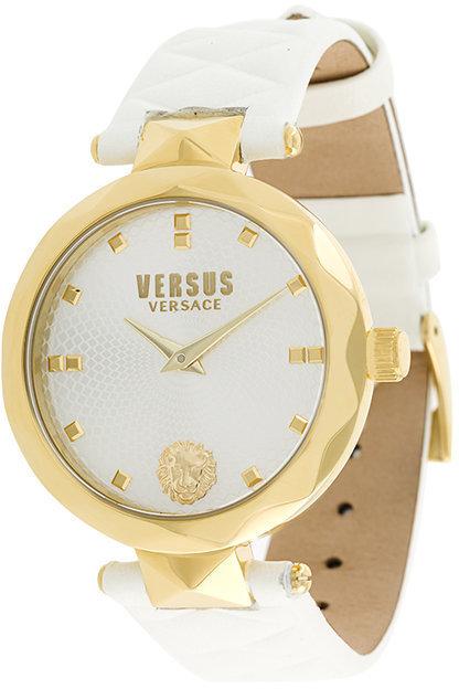 weiße Leder Uhr von Versus