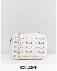 Weiße Leder Umhängetasche von Versace