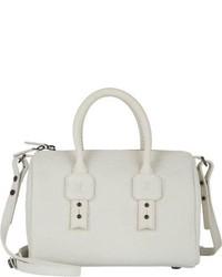 weiße Lederhandtasche