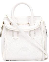 weiße Lederhandtasche von Alexander McQueen
