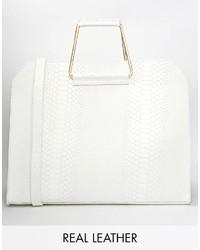 weiße Lederhandtasche von Asos