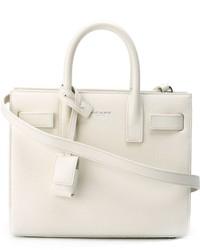 weiße Lederhandtasche von Saint Laurent