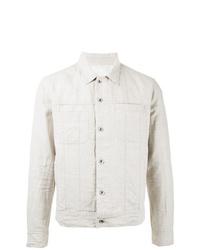 weiße Leinen Shirtjacke