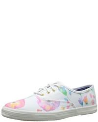 weiße niedrige Sneakers mit Blumenmuster