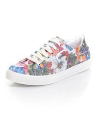 weiße niedrige Sneakers mit Blumenmuster von Alba Moda