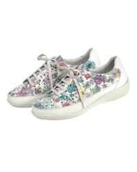 weiße niedrige Sneakers mit Blumenmuster von Naturläufer