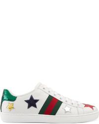 weiße niedrige Sneakers mit Sternenmuster von Gucci