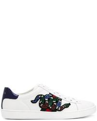 weiße Pailletten niedrige Sneakers von Gucci