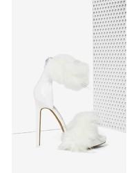 weiße Pelz Sandaletten