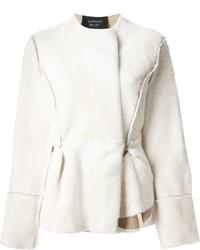 weiße Pelzjacke von Lanvin
