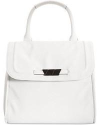 weiße Satchel-Tasche aus Leder