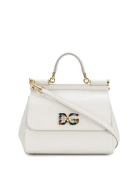 weiße Satchel-Tasche aus Leder von Dolce & Gabbana