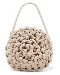 weiße Satchel-Tasche aus Segeltuch von Alienina