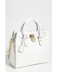 weiße Satchel-Tasche