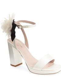 weiße Satin Sandaletten