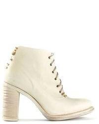 weiße Schnürstiefeletten aus Leder