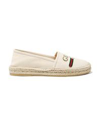 weiße Segeltuch Espadrilles von Gucci