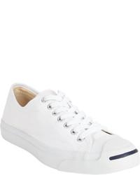 weiße Segeltuch niedrige Sneakers