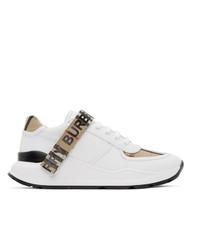 weiße Segeltuch niedrige Sneakers von Burberry