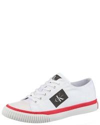 weiße Segeltuch niedrige Sneakers von Calvin Klein
