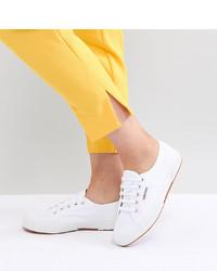 weiße Segeltuch niedrige Sneakers von Superga