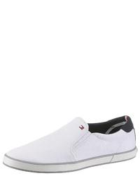 weiße Segeltuch niedrige Sneakers von Tommy Hilfiger