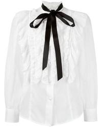 weiße Seide Bluse mit Rüschen von Marc Jacobs