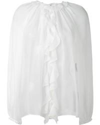 weiße Seide Langarmbluse mit Rüschen von Dolce & Gabbana