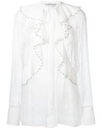 weiße Seide Langarmbluse mit Rüschen von Givenchy