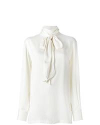 weiße Seide Langarmbluse von Lanvin