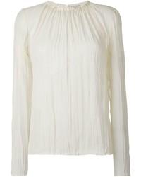 weiße Seide Langarmbluse von Nina Ricci
