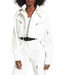 weiße Shirtjacke