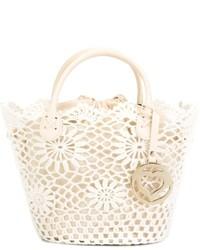 weiße Shopper Tasche aus Häkel