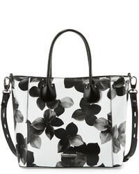 weiße Shopper Tasche aus Leder mit Blumenmuster