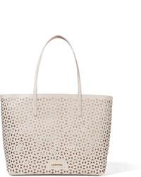 weiße Shopper Tasche aus Leder mit geometrischem Muster