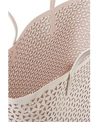 496b52ee01983 ... weiße Shopper Tasche aus Leder mit geometrischem Muster von Elizabeth  and James