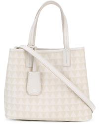 weiße Shopper Tasche aus Leder mit geometrischem Muster von Schutz