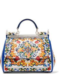 weiße Shopper Tasche aus Leder mit Reliefmuster von Dolce & Gabbana