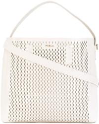 weiße Shopper Tasche aus Leder mit Reliefmuster von Furla