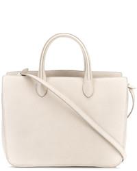 weiße Shopper Tasche aus Leder mit Reliefmuster von Jil Sander