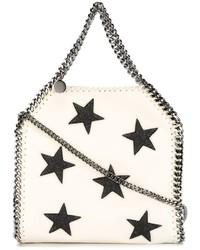 weiße Shopper Tasche aus Leder mit Sternenmuster