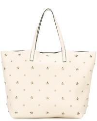weiße Shopper Tasche aus Leder mit Sternenmuster von RED Valentino