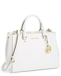 weiße Shopper Tasche aus Leder