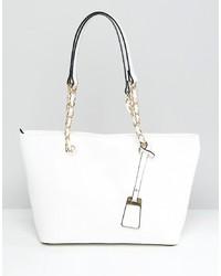 weiße Shopper Tasche aus Leder von Aldo