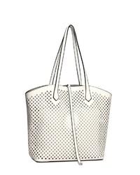 weiße Shopper Tasche aus Leder von COLLEZIONE ALESSANDRO