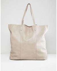 weiße Shopper Tasche aus Leder von DEPP
